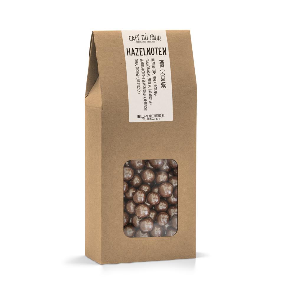 Koffie bestel je hier Hazelnoten in pure chocolade 250 gram